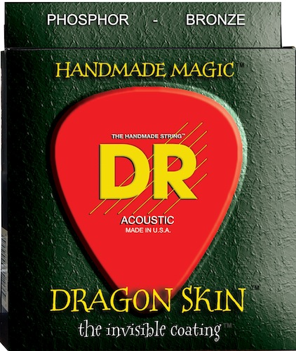 DR Strings Dragon Skin acoustic strings use their proprietary K3 coating on all 6 strings, resulting in less unwanted overtones, more volume and greater articulation than standard uncoated strings.