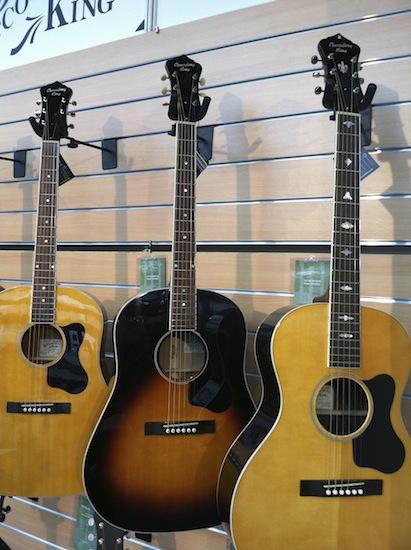 Recording King's new 14-fret Slope Shoulder guitars.