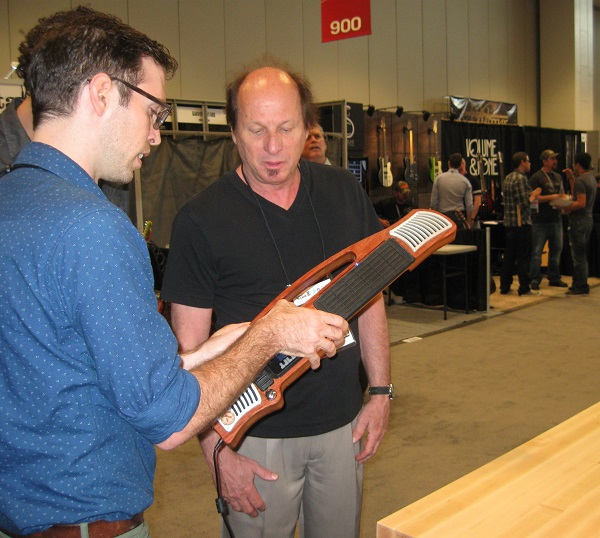 Mike Butera discusses the features of the Artiphon INSTRUMENT 1 with guitar legend Adrian Belew (King Crimson, David Bowie).