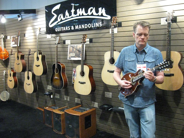 Eastman's Tim Nelson plays one of the company's mandolins.