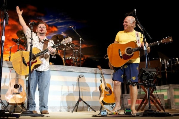 American Songwriter Lyric Contest winner Matt Hoggatt onstage with Jimmy Buffett