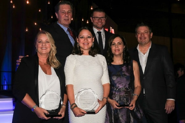 "(l-r) Back row NSAI Executive Director Bart Herbison and NSAI president Lee Thomas Miller. Front Row (l-r) Liz Rose, Hillary Lindsey and Lori McKenna (Song of the Year for ""Girl Crush"") and NSAI Songwriter of the Year Rodney Clawson (Alliance Media Relations / Bev Moser)"