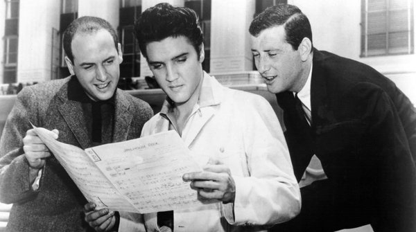 Mike Stoller, Elvis Presley and Jerry Leiber at MGM Studios in Culver City, California. 1957.