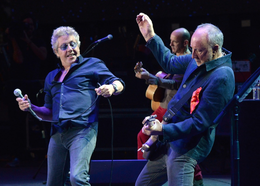 INDIO, CA - OCTOBER 16: Musicians Roger Daltrey (L) and Pete Townshend of The Who perform onstage during Desert Trip at The Empire Polo Club on October 16, 2016 in Indio, California. (Photo by Kevin Mazur/Getty Images for Desert Trip)